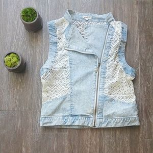 Light Wash Denim and Ivory Lace Cropped Zip Vest